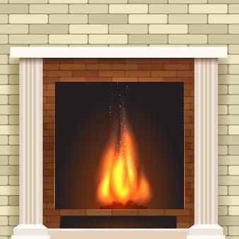 Icône de vecteur de cheminée classique.