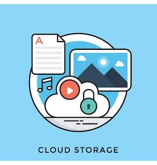 Icône de vecteur cloud storage plat