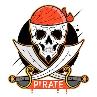 Icône de vecteur de crâne de pirate adaptée à l'impression de cartes de voeux, d'affiches ou de t-shirts.