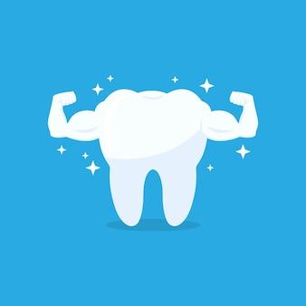 Icône de vecteur de dent saine musculaire forte. dent blanche avec biceps sur fond bleu. illustration vectorielle eps 10