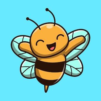 Icône de vecteur de dessin animé mignon abeille mascotte illustration