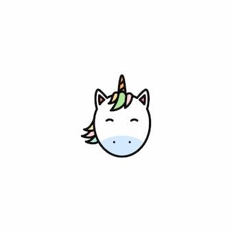 Icône de vecteur de dessin animé visage mignon licorne
