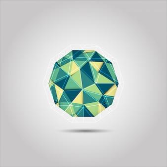Icône de vecteur forme sphère verte et jaune mosiac polygone