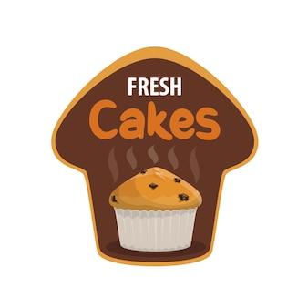Icône de vecteur de gâteau frais de boulangerie et pâtisserie sucrée. cupcake ou muffin, gâteau à la vanille ou tarte au sucre avec gouttes de chocolat, tasse en papier et tourbillons de vapeur, badge isolé