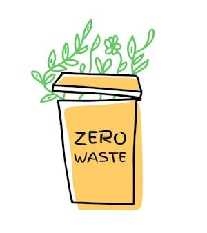 Icône de vecteur de griffonnage de concept de déchets zzero isolé sur fond blanc mode de vie écologique