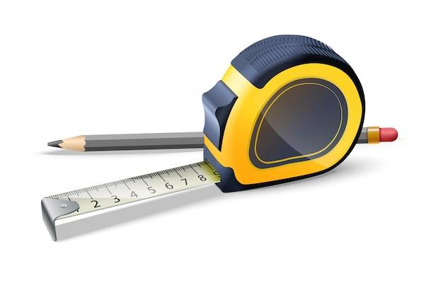 Icône vecteur illustration de règle de construction et crayon isolé sur fond blanc