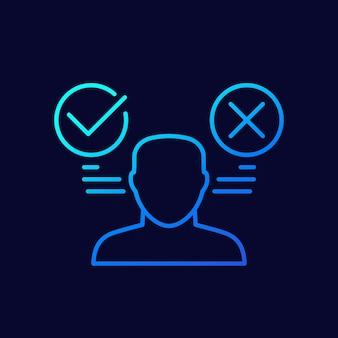 Icône de vecteur ligne avantages et inconvénients