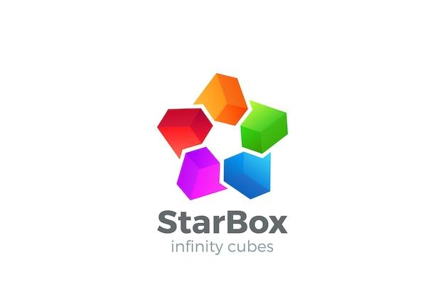 Icône de vecteur de logo de boîtes étoiles.