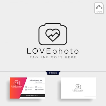 Icône de vecteur de logo photographie amour isolé