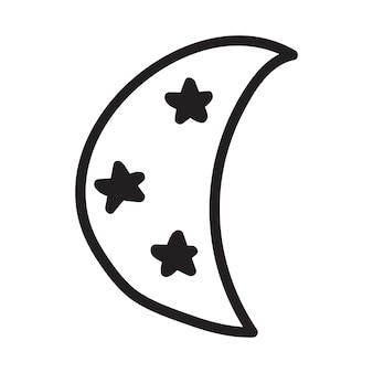 Icône de vecteur de lune et d'étoiles isolée sur fond avec style doodle dessiné à la main