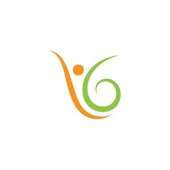 Icône de vecteur de modèle de logo de vie saine de personnes