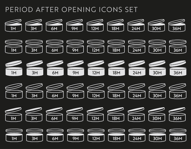 Icône de vecteur pao sur jeu noir. période après l'ouverture des symboles. boîte avec bouchon ouvert avec période de péremption en mois.