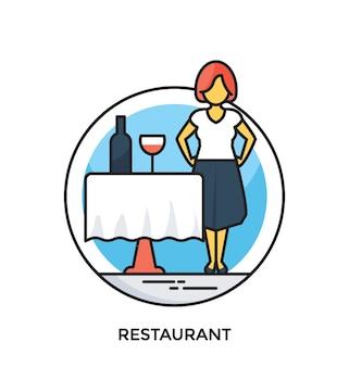 Icône de vecteur plat restaurant