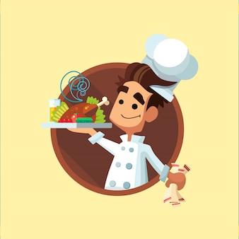 Icône de vecteur plat rond avec cuisinier et ustensiles de cuisine