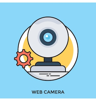 Icône de vecteur plat de webcam