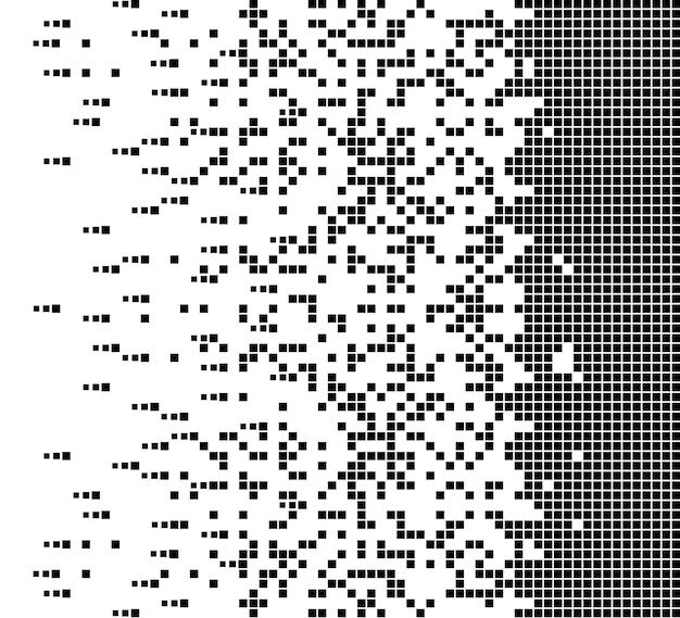 L'icône de vecteur en pointillé carré rempli dissous avec des éléments de rectangle d'effet de désintégration sont regroupés en...