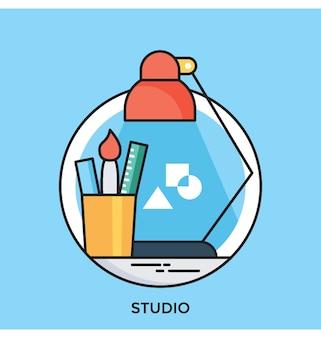 Icône de vecteur de studio plat