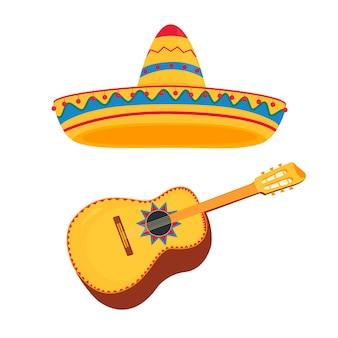 Icône de vecteur traditionnel mexicain sombrero et guitare.