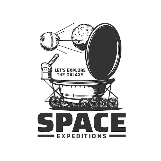Icône vectorielle isolée de l'expédition spatiale avec l'univers de la galaxie planète lunaire, rover lunaire et satellite. véhicule d'exploration spatiale alimenté par batterie ou symbole monochrome de robot télécommandé itinérant