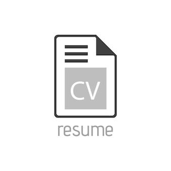 Icône vectorielle plate de ligne cv pour la conception d'applications mobiles, de boutons et de sites web. illustration isolée sur fond blanc. logo, application, infographie.