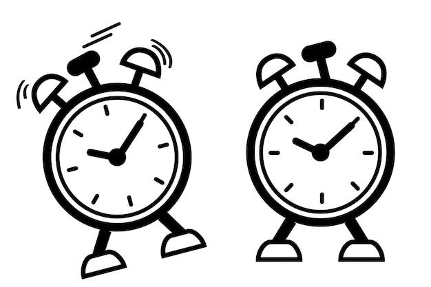 Icône vectorielle simple, 2 réveils, réveil choquant et réveil immobile