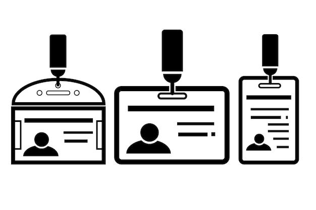 Icône vectorielle simple, 3 variantes de la carte d'identité, isolée sur blanc