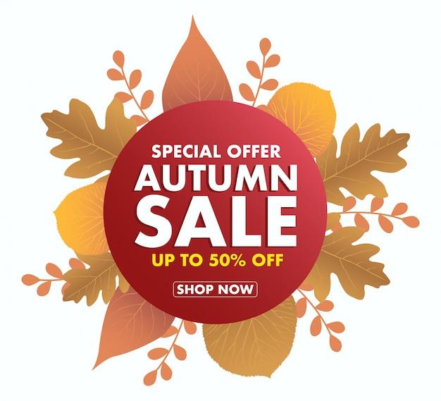 Icône de vente automne isolé sur blanc