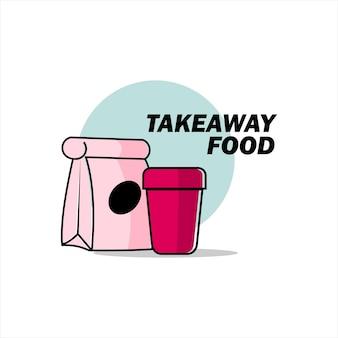 Icône vente déjeuner à emporter plat illustration vecteur nourriture