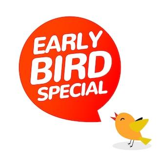 Icône de vente d'offre spéciale de vecteur d'escompte de lève-tôt. bannière de signe de promo de dessin animé d'icône de lève-tôt.