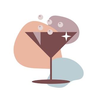 Icône de verre à cocktail de couleur marron. design plat isolé