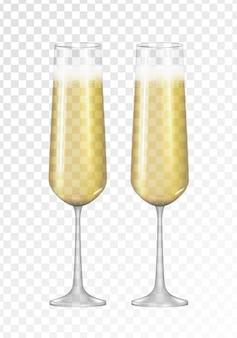 Icône de verre doré champagne 3d réaliste isolé