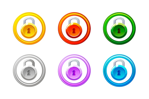 Icône de verrouillage dans différentes couleurs. verrouillage de niveau gui.