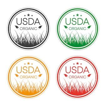 Icône verte étiquette d'icône de logo symbole bio bio eco produit naturel aliments sains végétariens