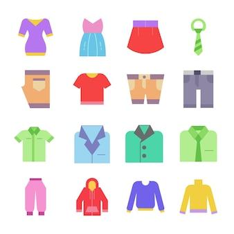 Icône de vêtements set logo illustration sur fond blanc