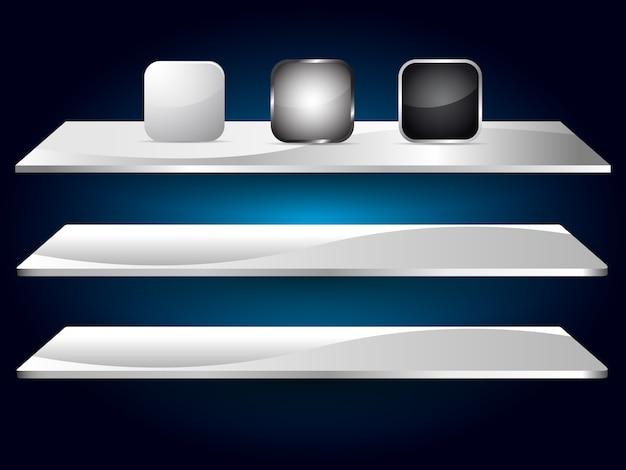 Icône vide de couleur blanche, grise, noire pour application web