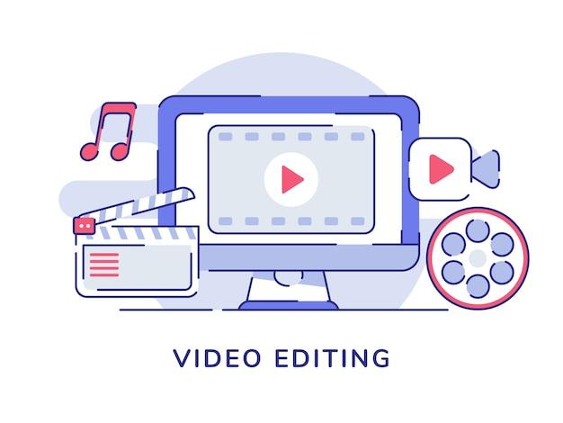 Icône vidéo de concept d'édition vidéo sur écran d'ordinateur d'affichage avec style de contour plat