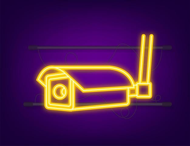 Icône avec vidéosurveillance sur fond blanc. icône néon. symbole de la silhouette. icône de l'appareil photo. illustration vectorielle.