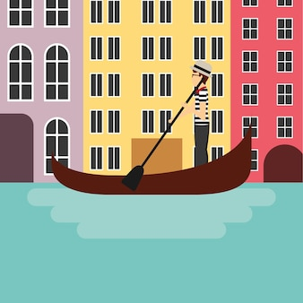 Icône de la ville de venecia. conception de la culture de l'italie. graphique de vecteur