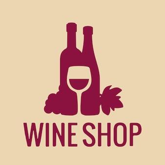 Icône de vin ou logo verre de bouteille de vin grappe de raisin vector plate ico