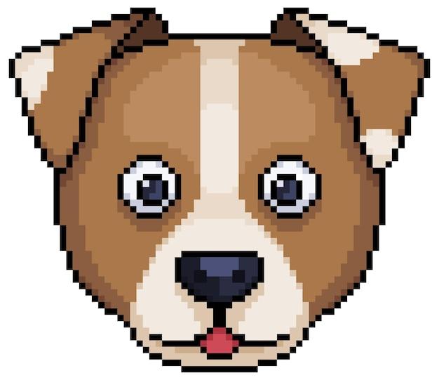 Icône de visage de chien pixel art pour jeu 8 bits sur fond blanc