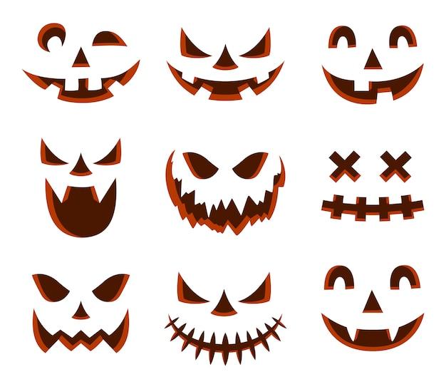 Icône de visage effrayant halloween citrouille