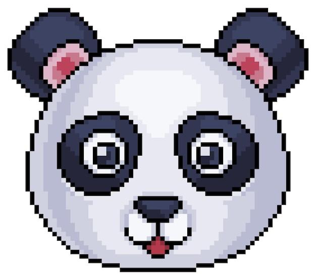 Icône de visage d'ours panda pixel art pour jeu 8 bits sur fond blanc