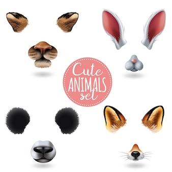 Icône de visages animaux mignons isolés sertie de quatre museaux de dessin animé différents sur blanc