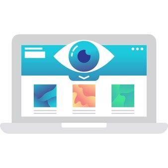 Icône de visualisation des données visuelles vectorielles sur ordinateur portable