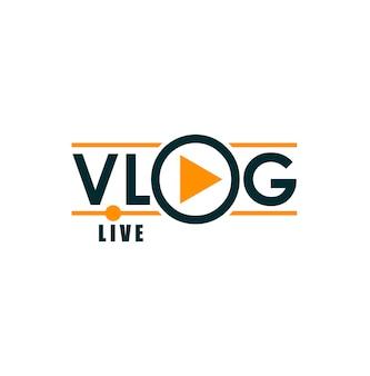 Icône de vlog, diffusion télévisée en direct et blog vidéo en ligne, lecteur. chaîne de blogueur ou vlogger ou icône vectorielle de flux de médias sociaux avec flèche de lecteur pour tube vidéo ou podcast web en direct