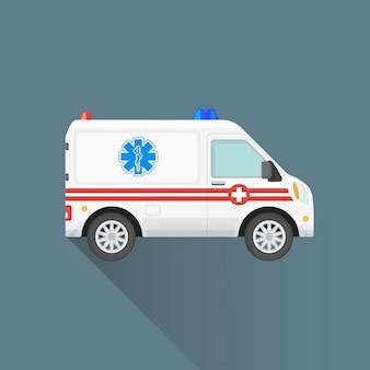 Icône de voiture ambulance plate