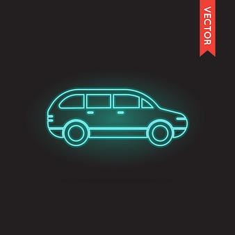 Icône de voiture au néon de vecteur
