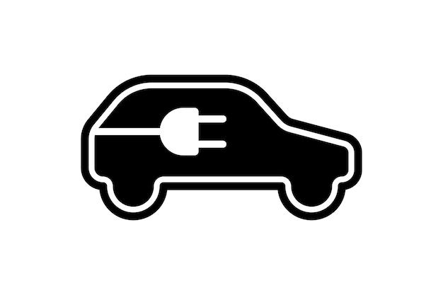 Icône de voiture électrique prise de câble électrique station de charge symbole noir eco friendly électrique auto