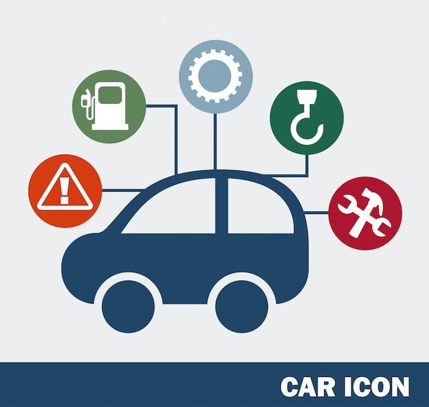 Icône de la voiture sur illustration vectorielle fond bleu