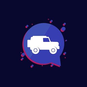 Icône de voiture tout-terrain, vecteur suv 4x4